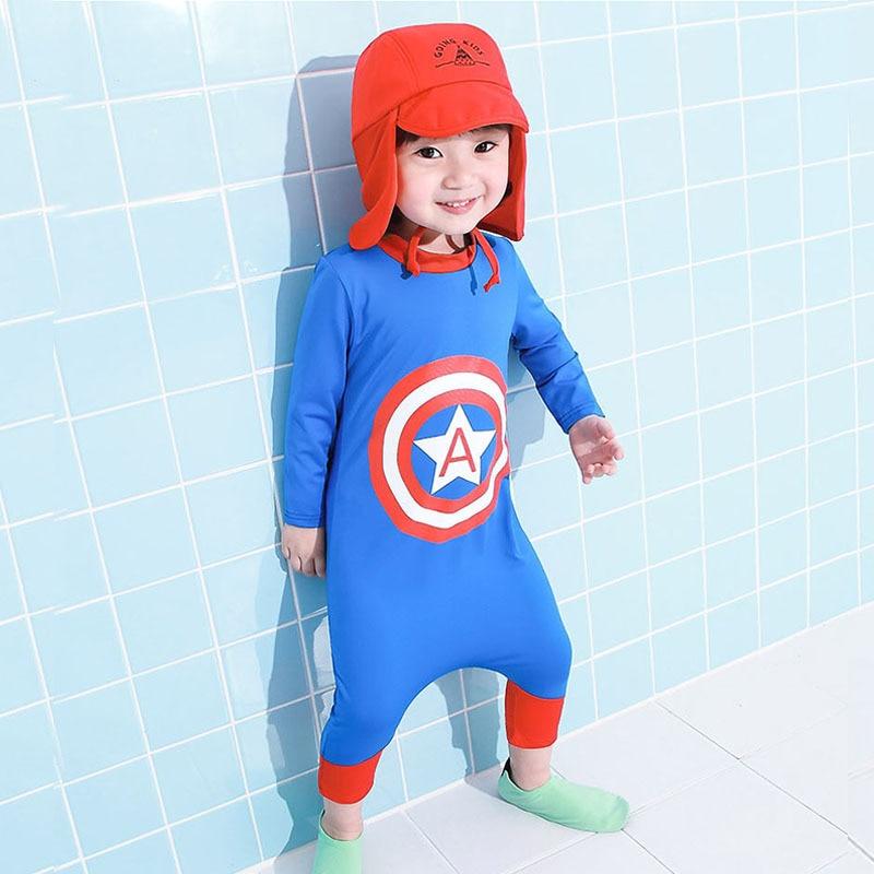 KID'S Swimwear Quick-Dry Sun-resistant BOY'S Small CHILDREN'S Big Boy Split Type Swimwear Kids Girls Baby Siamese Swimsuit