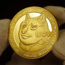1 peça banhado a ouro dogecoin moedas comemorativas cão bonito padrão ano cão coleção moedas moeda virtual
