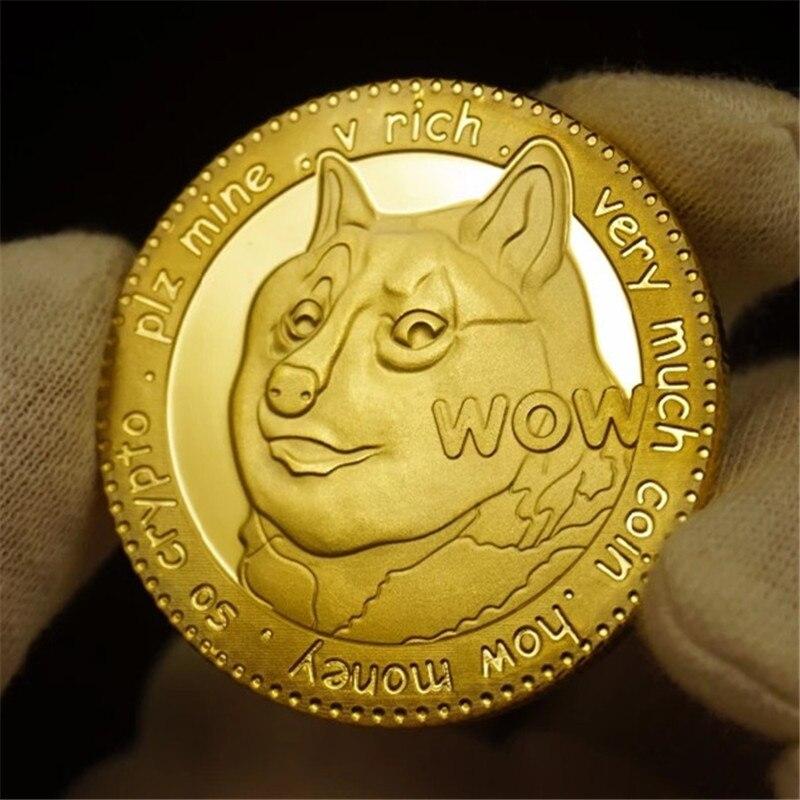 Позолоченные памятные монеты Dogecoin, 1 шт., с милым рисунком собаки, коллекция на год, монеты, виртуальная валюта