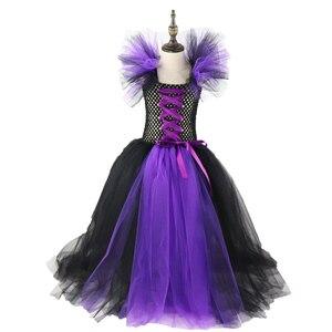 Image 3 - Filles bandes cornes noir mal maléfique reine déguisement dhalloween filles Tutu robe enfants noël robes de fête danniversaire XX0