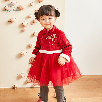 DBM12119 dave bella winter baby girl's Chinese style floral zipper dress children fashion party dress kids infant lolita clothes image