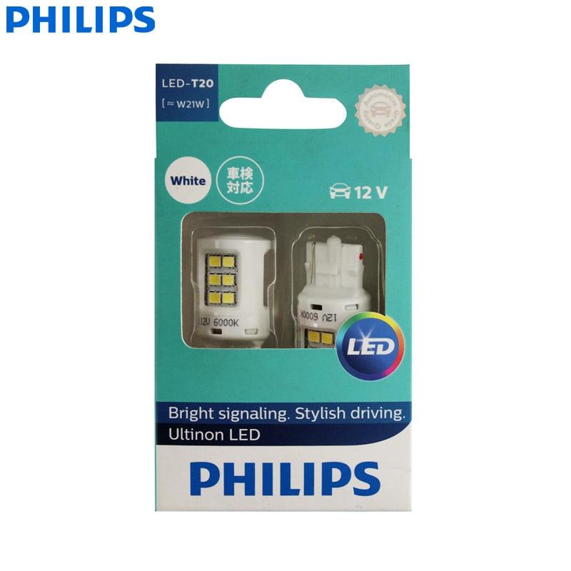 Philips Ultinon светодиодный фонарь T20 W21W 7440 6000K холодный белый светодиодный сигнал для автомобиля стоп-сигнал и задний свет, обратный свет 11065ULWX2 (д...