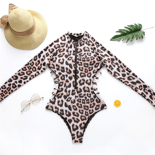 Leopard One-Piece Swimsuit Long Sleeve Surfing Suit Snake Print Zipper Monokini Push Up Sexy Swimming Suit for Women