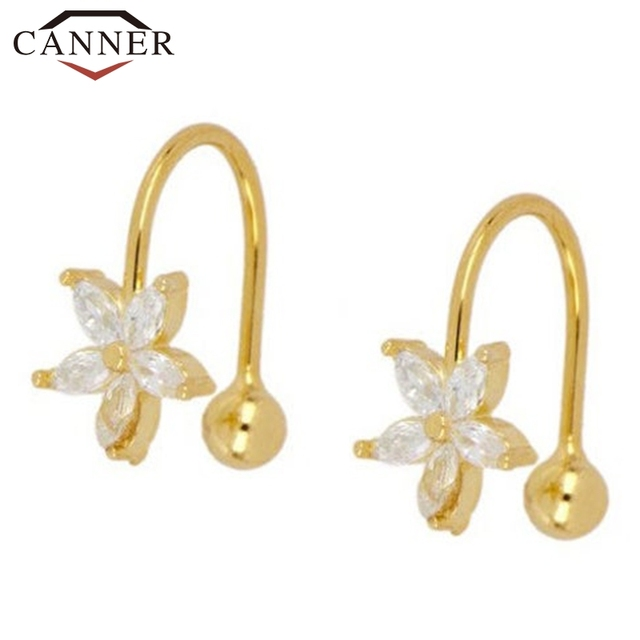 1 pair of 925 Sterling Silver Snowflake Ear Cuff Without Piercing Clip Earrings for Women Crystal Zircon Clip on Earrings 1