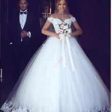 Белое Кружевное бальное платье свадебное платье с открытыми плечами Свадебные платья для невесты Плюс Размер подвенечные Свадебные платья Vestido de noiva