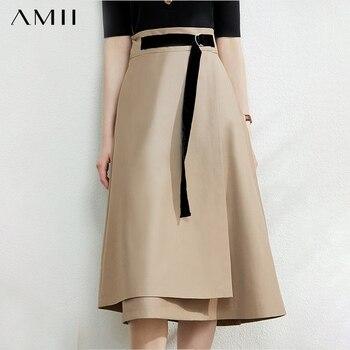 AMII Minimalism Autumn Fashion Solid Belt Women Skirt Causal High Waist Aline Irregular Hem Female Skirt 12040091