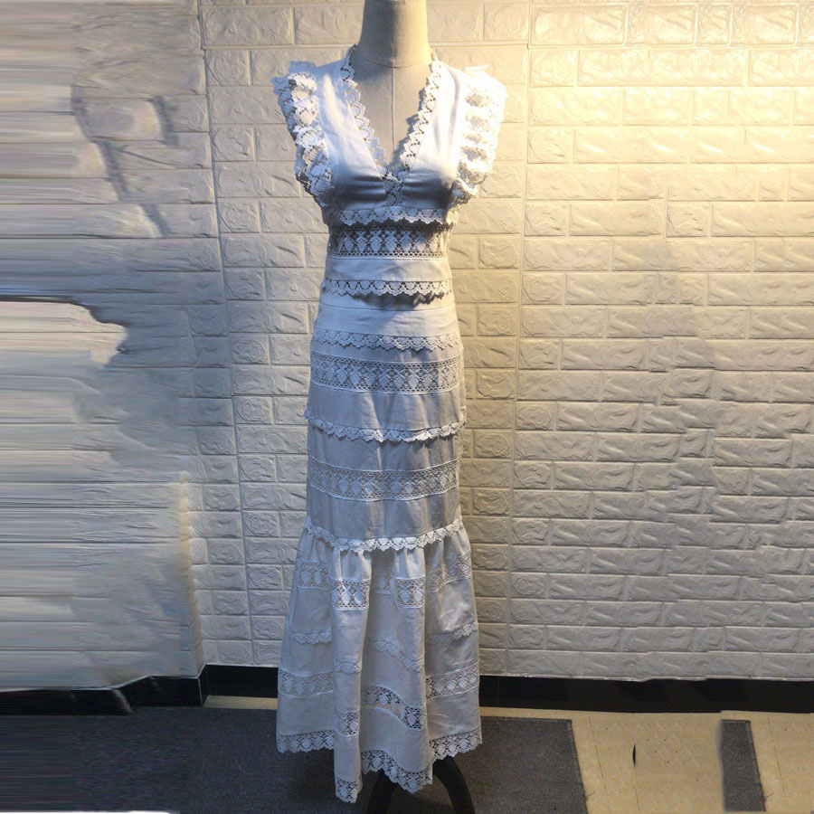 2019 Spring New Arrival Women Fashion 2 Pieces Sets Sexy V-neck White Top and Long Mermaid Skirt 2 Piece Set Women Lace Outfits