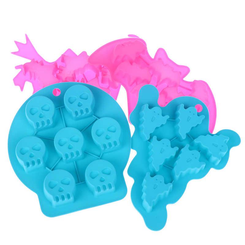 Tulang Hantu Kelelawar Silikon Fondant Fleksibel Halloween Kue Cetakan Sabun Cetakan Dekorasi Alat Warna Random1pc Halloween Cetakan Penyihir