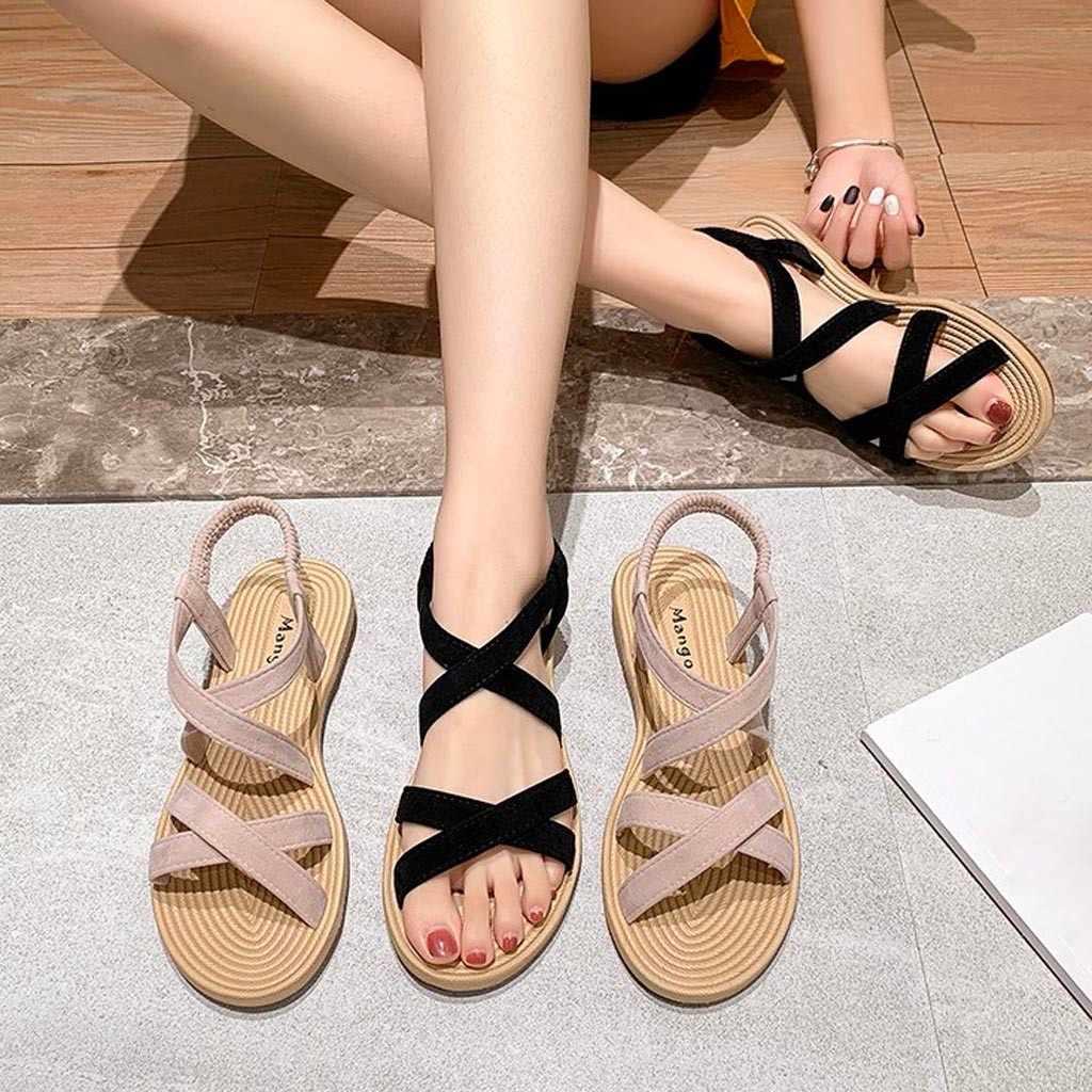 38 #2020 Phụ Nữ Giày Xăng Đan Mùa Hè Các Đấu Sĩ Bãi Biển Phẳng Giày Xăng Nữ Sandalias Nền Tảng Giày Sandal Nữ + Giày Ayakkabi