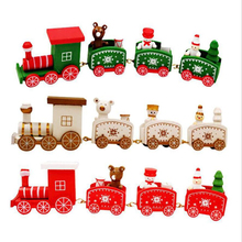 Christmas Decoration For Home Little Train Popular Wooden Train Decor Christmas kid toys gift ornament navidad New Year Supplies 4 section little train christmas ornaments