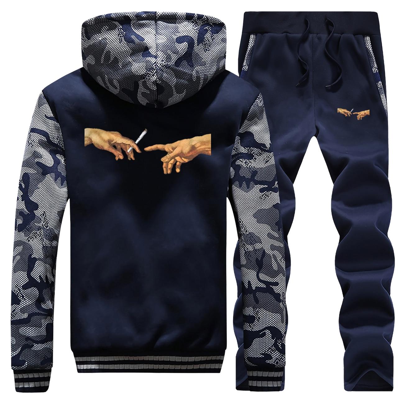 Winter Mens Tracksuit Smoking Vintage Printed Coat Hip Hop Thick Hoodie Men Camouflage Sweatshirt+Sweatpant 2PC Set Male Jacket