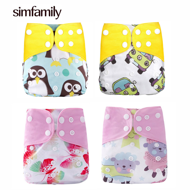 [simfamily]2019 New 4pcs/set Washable Cloth Diaper Cover Adjustable Nappy Reusable Cloth Diapers Available 0-3years 3-15kg Baby