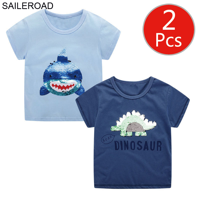 SAILEROAD Boy <font><b>Shirts</b></font> 2pcs Shark Dinosaur Paillette <font><b>2</b></font> Colors Changing Kids Tops Clothes Wholesale Baby Kids <font><b>Shirts</b></font> Summer <font><b>Shirt</b></font> image