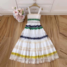 Baogarret Fashion Runway Women Sexy Backless Dress Lace Patchwork White Summer Strap Dresses New Party Vestidos Robe Femme
