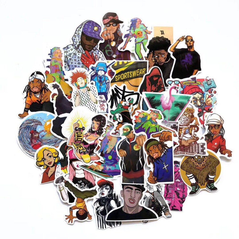 50pcs/lot Hip Hop Rap Street Style Refrigerator Skateboard Trolley Case Decals Backpack Tables Waterproof PVC Sticker
