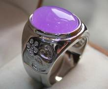Jewelry Pearl Ring fine men/women's purple jades/opal love ring #9,10,11,12 Free Shipping(China)