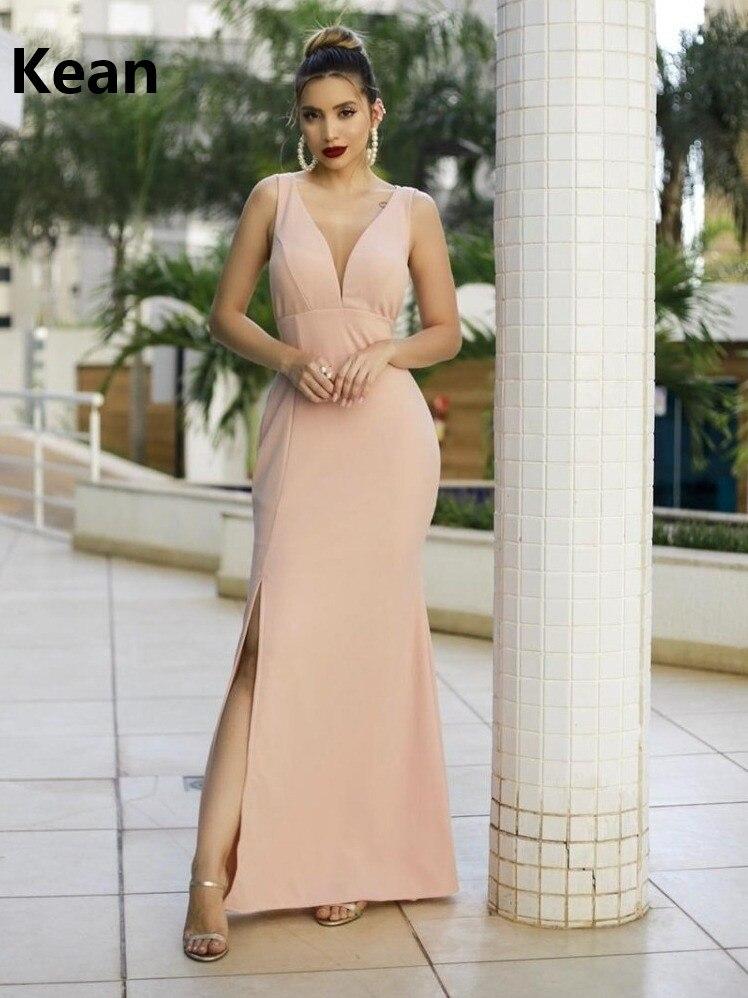 Champagne Evening Dress V-neck Mermaid Slit Simple Special Occasion Party Dress Islamic Dubai Kaftan Saudi Arabic Prom Dress