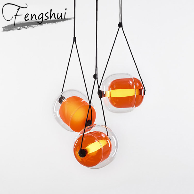 Modern LED Iron Art Glass Pendant Lights Lighting PostModern Pendant Lamp Living Room Bedroom Restaurant Bar Decor Light Fixture