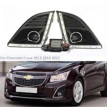 цена на YTCLIN 2Pcs LED DRL Daytime Running Light for Chevrolet Cruze 2013 2014 2015 Fog Lamp Cover Daylight Car Light Assembly