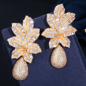 Image 3 - CWWZircons 3 Tone Gold Luxury Large Leaf Drop Flower Micro Cubic Zirconia Paved Naija Wedding Party Earring for Women CZ644