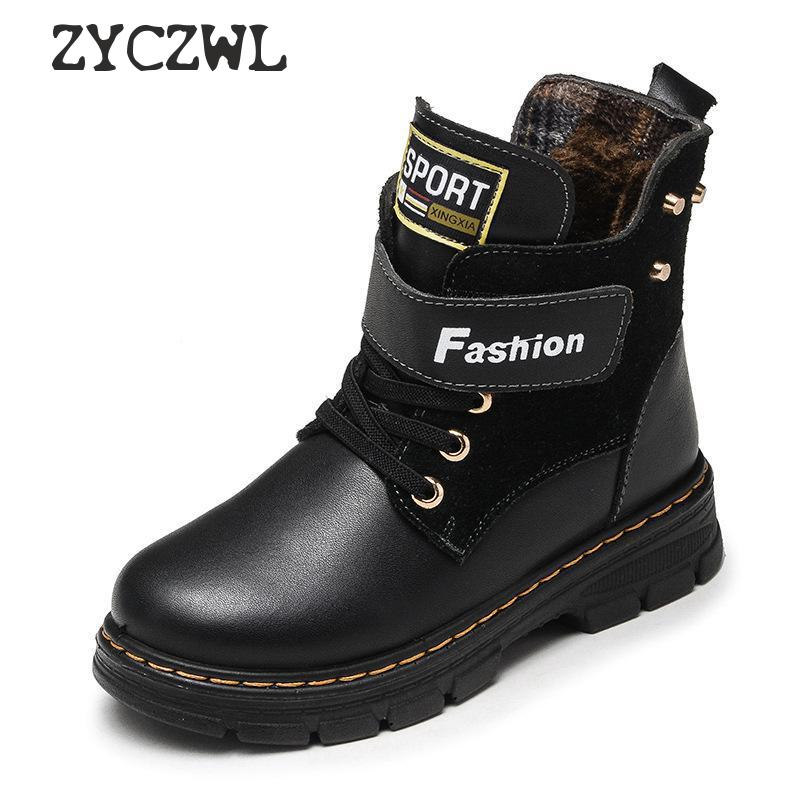 Autumn Winter Kids Boots For Boys Shoes Fashion Mid-Calf Snow Boots Genuine Leather Plush Warm Waterproof Children Martin Boots