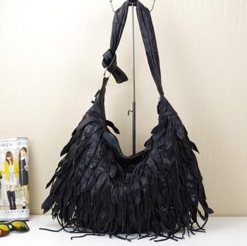 Caerlif Free shipping Black genuine leather tassel bag one shoulder  women's bag sheepskin tassel women's big bag size 53*34cm