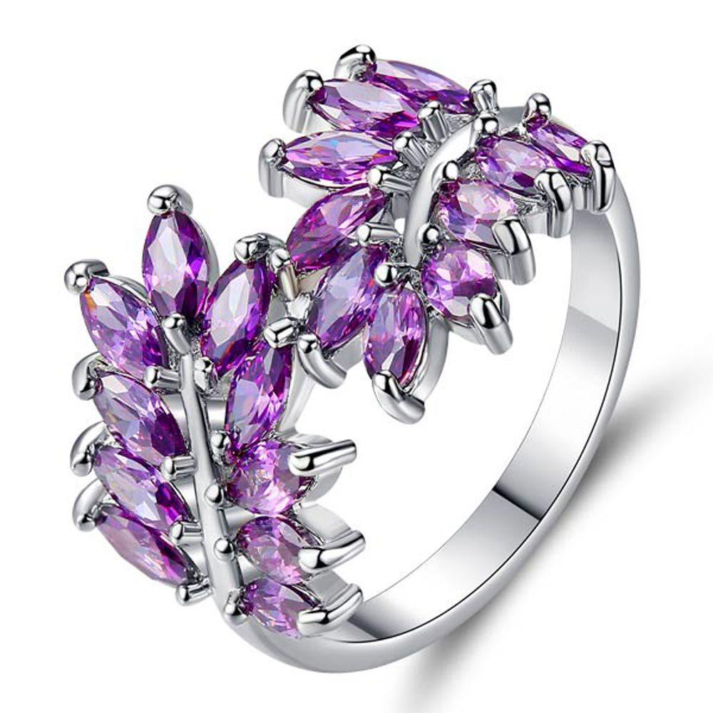 FS1355 anneau de feuille créatif individuel avec garniture en zircon