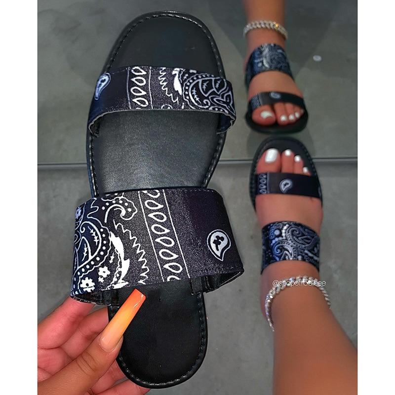 2020 Fashion Woman Slippers Summer Print Slip On Ladies Flat Beach Lazy Sandals Casual Slides Female