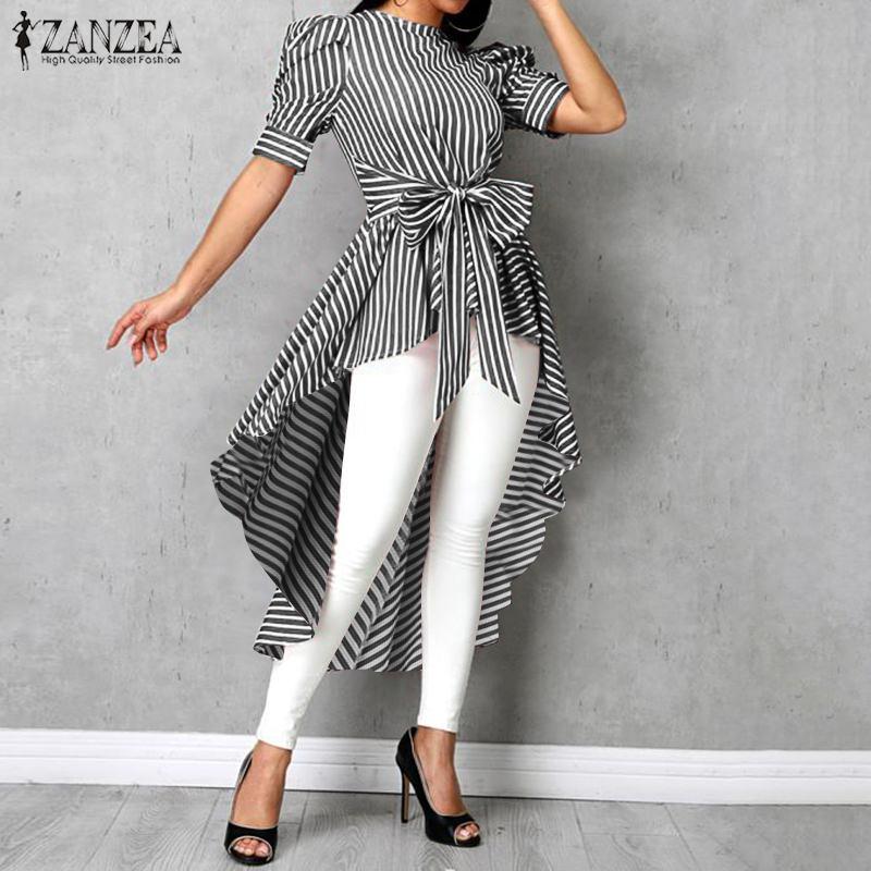 Fashion Asymmetrical Tops Women's Striped Blouse 2020 ZANZEA Summer Puff Sleeve Shirts Female High Low Bowknot Blusas Plus Size