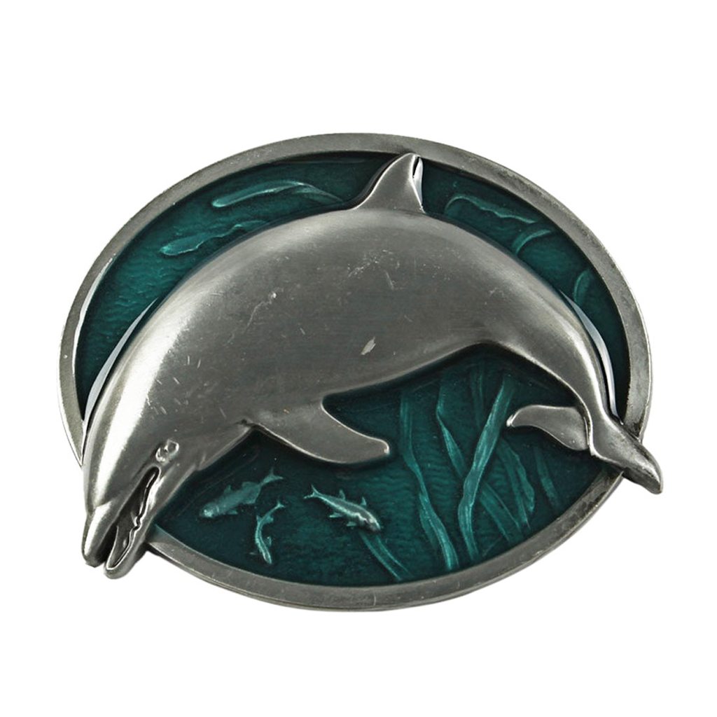 Oval Men Fashion Classic Metal Marine Animal Design Charm Hot Belt Buckle Dolphin Pictle Cool Buckle