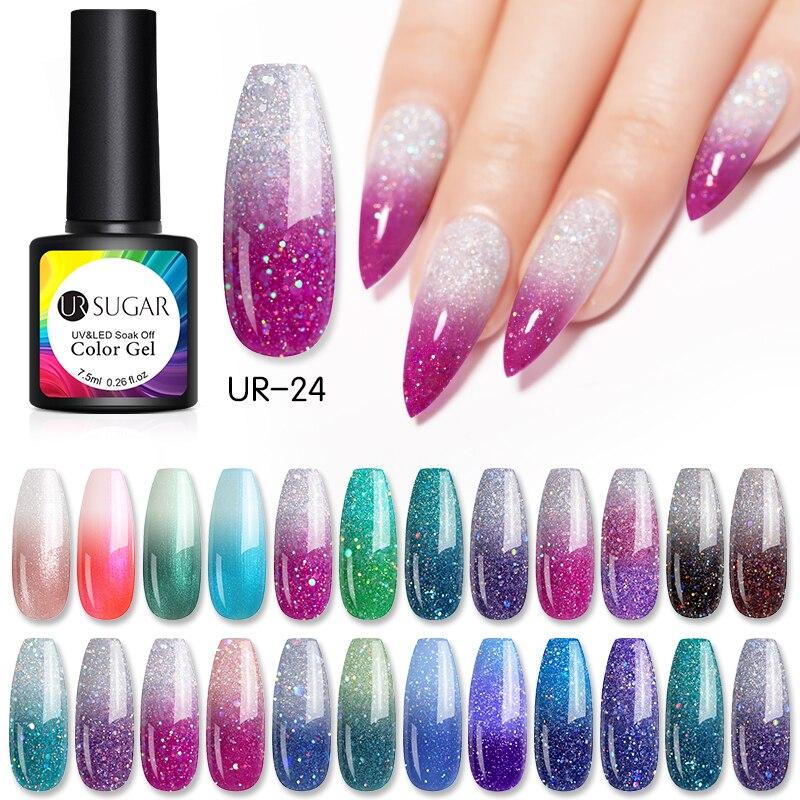 UR SUGAR Thermal Glitter Gel Soak Off UV Gel Polish  Temperature Color-changing Gel Varnish Nail Art Gel Varnish