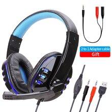 Bas Stereo kulaklık cep telefonu müzik kablolu kulaklıklar oyun kulaklık üzerinde kulak Mic ses kontrolü ile dizüstü bilgisayar için oyun
