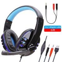 Bass Stereo Headset Handy Musik Wired Kopfhörer Spiel Headset Über Ohr Mit Mic Voice Control für Laptop Computer Gamer