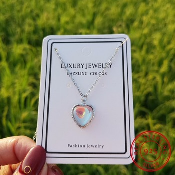 2019 New Heart Moonstone Necklaces & Pendants For Women Fashion 925 Sterling Silver Jewelry Clavicular Chain image