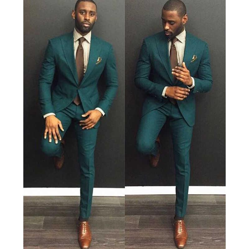2020 custom one button green men's groom suit party wedding dress 2 pieces (coat + pants + tie)