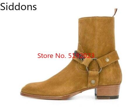 Winter Ankle Boots Men British Style Horsebit Round Toe Chain Chelsea Boots Zapatos De Hombre Fashion Shoes Men D59