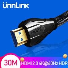 Unnlink długi kabel HDMI UHD4K @ 60Hz HDMI 2.0 HDR 3M 5M 8M 10M 15M 20M 30M dla przejściówka PS4 tv, pudełko xbox projektor komputer