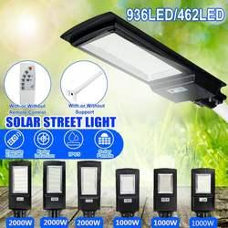 Светодиодный уличный фонарь на солнечной батарее 1000 Вт 2000 Вт IP65 8500 к светильник с датчиком движения, настенный светильник с дистанционным у...