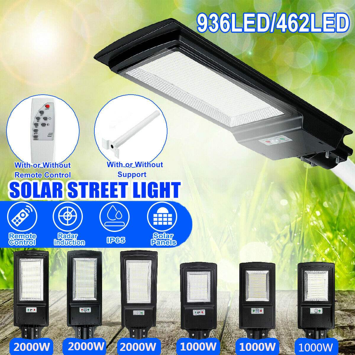 LED Solar Street Light 1000W 2000W IP65 8500K Light Radar Motion Sensor Wall Timing Lamp Remote Control For Garden Outdoor