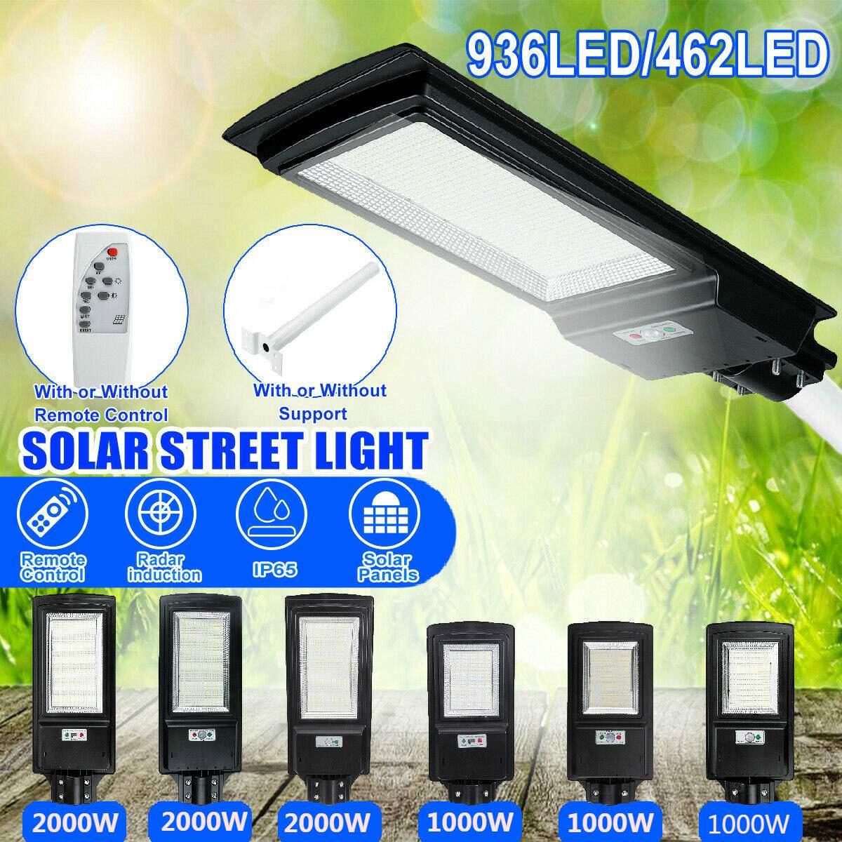 LED Solar Street Light 1000W 2000W IP65 8500K Light Radar Motion Sensor Wall Timing Lamp Remote Control for Garden Outdoor