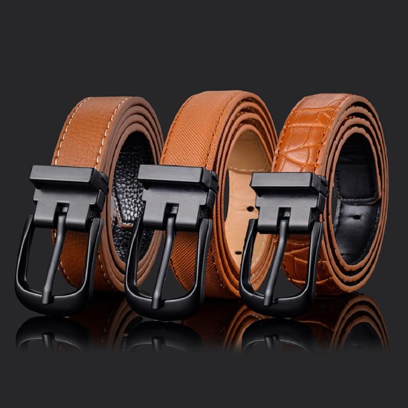 13 New Styles Hot Cowboy Leather Short Belt Black Metal Pin Buckle WaistBand Fashion Child Jeans Waist Belts Pas Kowbojski 2020