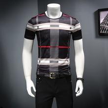 2019男性のシャツ夏半袖ファッションラウンド襟tシャツプリント通気性の男性のtシャツ