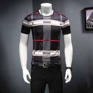 Image 1 - 2019 남자 셔츠 여름 짧은 소매 패션 라운드 칼라 t 셔츠 인쇄 통기성 남자 t 셔츠
