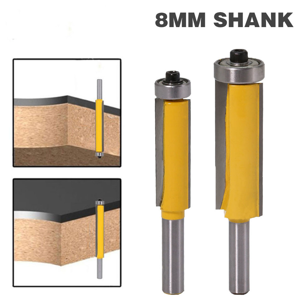 8MM Shank Extra Long Flush Trim Straight Router Bit Woodworking Cuting Bearing