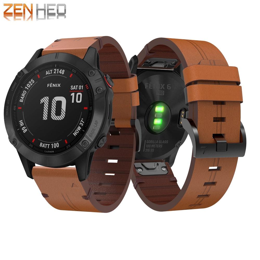 For Garmin Fenix 6 Wristband 22mm Quick Fit Genuine Leather Watch Band Strap For Garmin Fenix 5/5 Plus/Forerunner 935/945 Wrist