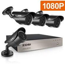 ZOSI 8CH 1080P HD TVI نظام كاميرا مراقبة CCTV P2P IR للرؤية الليلية 4 قطعة 2.0MP في الهواء الطلق HD طقم كاميرا مراقبة APP عرض