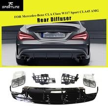 PP Диффузор, губа на задний бампер спойлер с выхлопными наконечниками для Mercedes-Benz CLA Class W117 CLA260 Sport CLA45 AMG 2013