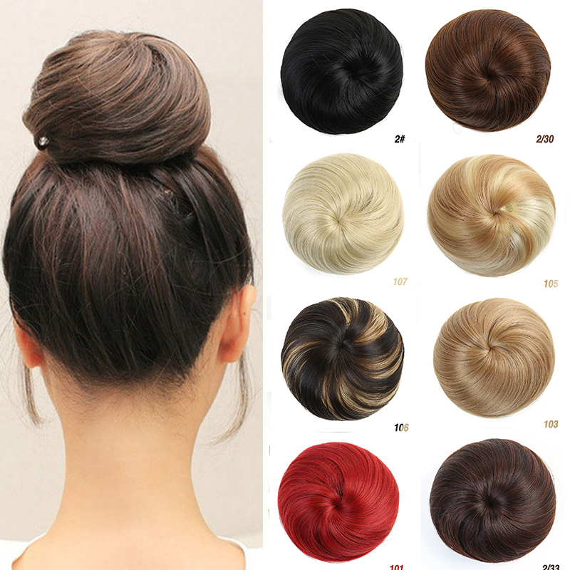 MUMUPI Women Natrual Blonde Synthetic Hair Bun Pad Extension Draw String Donut Chignon Hairpieces Blond Audrey Hepburn Hearwear
