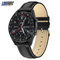 Lokmat 블루투스 스마트 시계 남자 전체 라운드 ips 터치 스크린 ppg ecg ip68 방수 피트니스 트래커 smartwatch for android ios