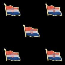 5PCS Croatia Country Waving Flag Lapel Pin National Flag International Travel Pins croatia country flag lapel pin made of metal souvenir hat men women waving epoxy flag lapel pin